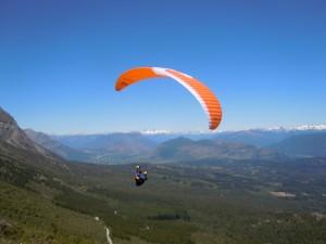 Paraglider launchin at Cerro Piltriquitron, El Bolson