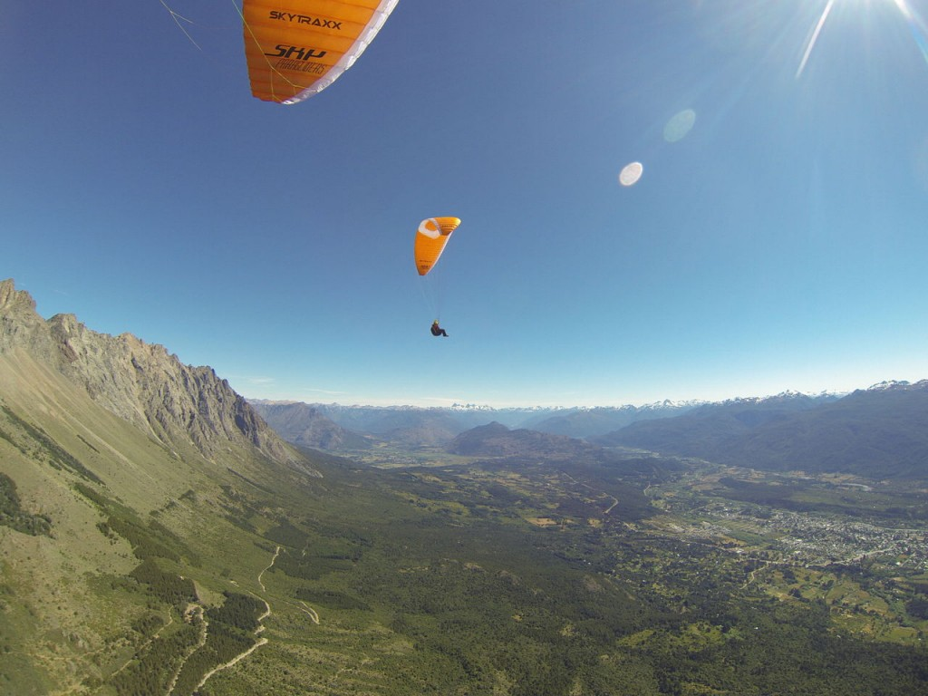 flying our paragliders high over el bolson