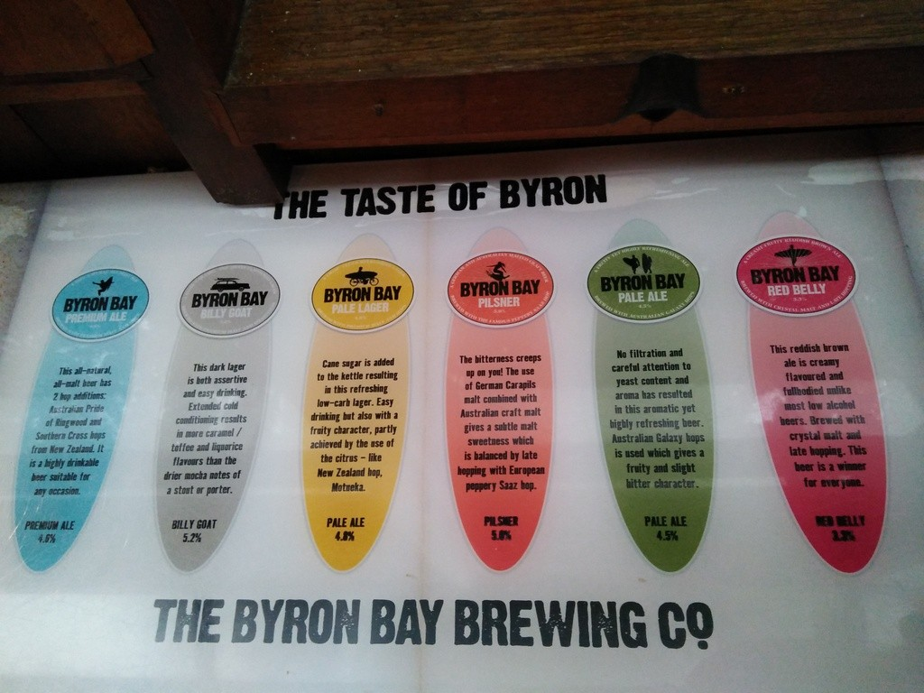 auswahl in der brauerei in byron bay